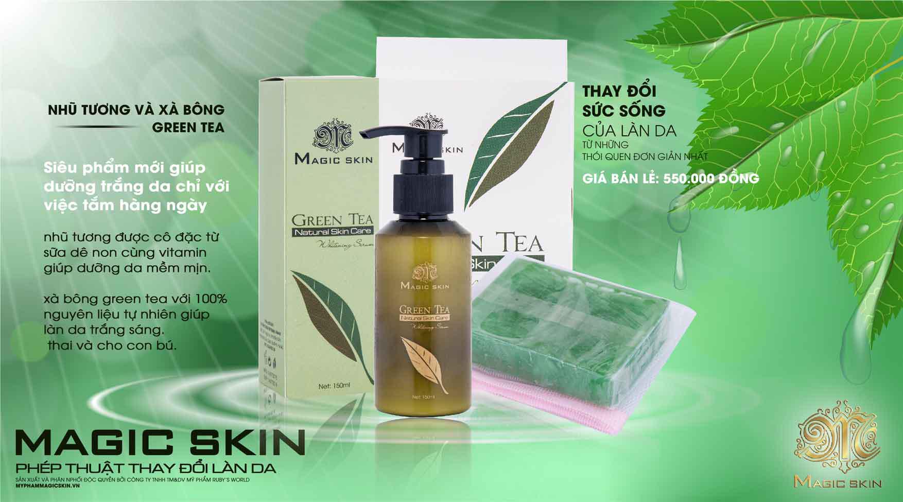 Xà phòng tắm trắng Green Tea Soap Magic Skin